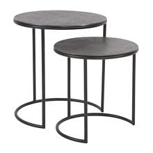 Graphite Metal Round Nesting Table Set