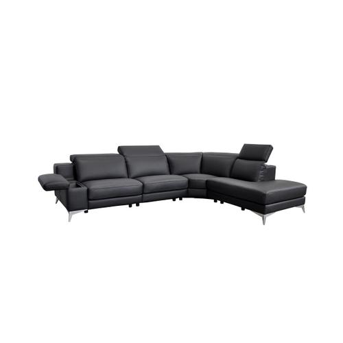 Gallery - Estro Salotti Hypnose - Italian Modern Black Leather Sectional Sofa with Recliner