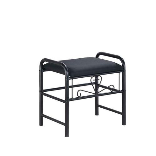 Traditional Black Vanity With Glass Top and Fabric Stool