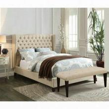 ACME Faye Eastern King Bed - 20647AEK - Beige Linen & Espresso