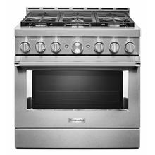 View Product - KitchenAid® 36'' Smart Commercial-Style Gas Range with 6 Burners - Heritage Stainless Steel