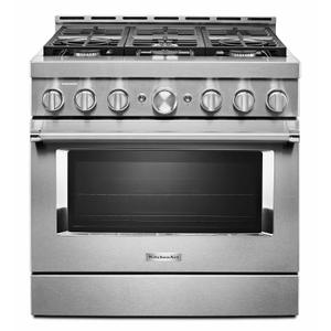 KitchenAidKitchenAid® 36'' Smart Commercial-Style Gas Range with 6 Burners - Heritage Stainless Steel