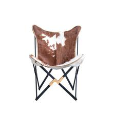 """Product Image - 26""""L x 28""""W x 36""""H Cow Hide & Metal Foldable Butterfly Chair"""