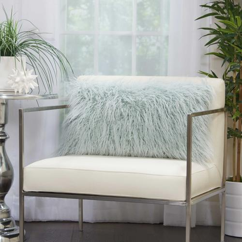 "Faux Fur Bj101 Sky 14"" X 24"" Lumbar Pillow"