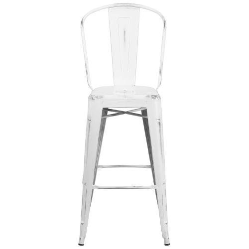 30'' High Distressed White Metal Indoor-Outdoor Barstool with Back