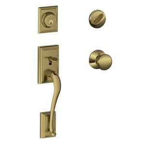 Addison Single Cylinder Handleset and Plymouth Knob - Antique Brass Product Image