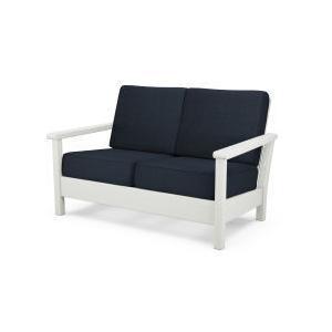Polywood Furnishings - Harbour Deep Seating Settee in Vintage White / Marine Indigo