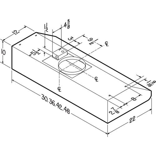 Broan® Elite 30-Inch Under-Cabinet Range Hood Shell w/ External Blower & Light, Stainless Steel