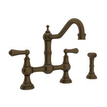 Edwardian Bridge Kitchen Faucet with Sidespray - English Bronze with Metal Lever Handle