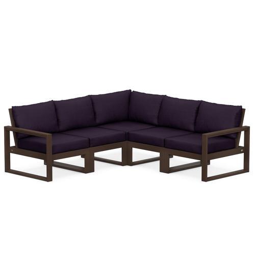 Polywood Furnishings - EDGE 5-Piece Modular Deep Seating Set in Mahogany / Navy Linen