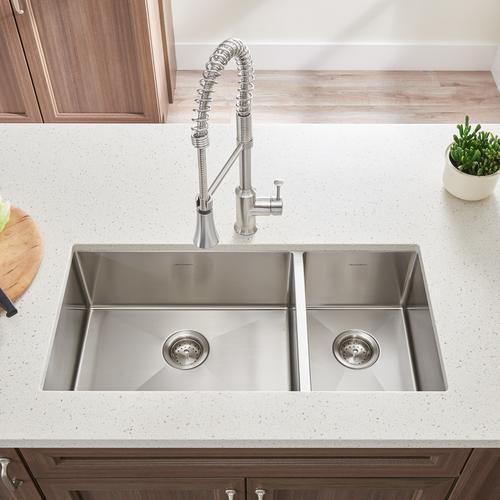 American Standard - Pekoe 35x18-inch Offset Double Bowl Kitchen Sink  American Standard - Stainless Steel