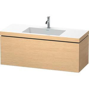 Furniture Washbasin C-bonded With Vanity Wall-mounted, Brushed Oak (real Wood Veneer)