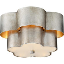 AERIN Arabelle 3 Light 14 inch Burnished Silver Leaf Flush Mount Ceiling Light