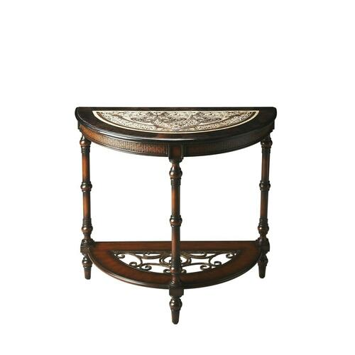 Only those with finely tuned aesthetic sensibilities and discerning taste should go any further. Take a look at this Demilune Console Table ™ a truly transcendent combination of metal, wood, stone and shell. Its rich mahogany wood finish is complemented