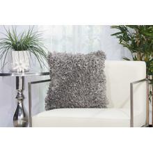 "Shag Dl660 Silver Grey 17"" X 17"" Throw Pillow"