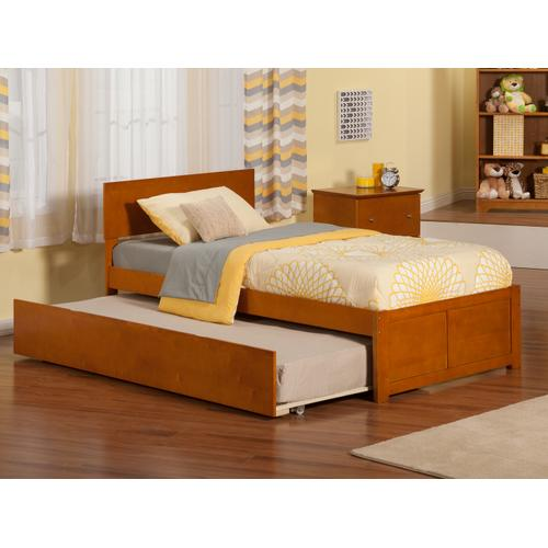 Orlando Twin Flat Panel Foot Board with Urban Trundle Caramel Latte