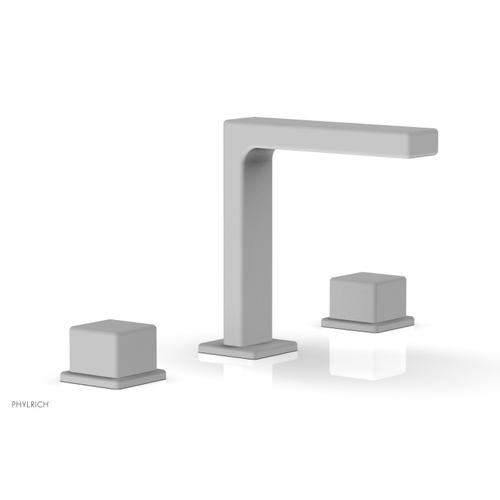 """MIX Widespread Faucet - Cube Handles 6-3/4"""" Height 290-04 - Satin White"""