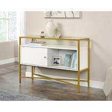 View Product - Contemporary White Glass-Top Accent Table
