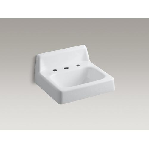"White 19"" X 17"" Wall-mount Bathroom Sink With 8"" Widespread Faucet Holes"