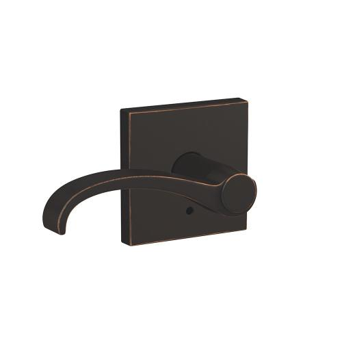 Custom Whitney Lever with Collins Trim Hall-Closet and Bed-Bath Lock - Aged Bronze