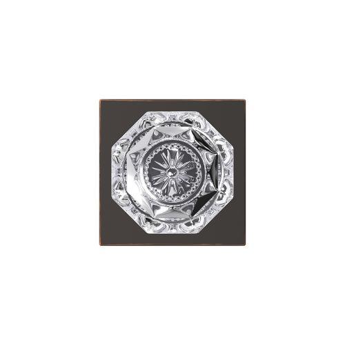 Custom Alexandria Glass Knob with Collins Trim Hall-Closet and Bed-Bath Lock - Aged Bronze