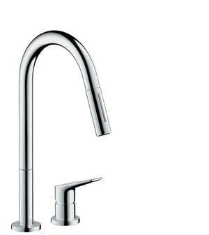 Chrome 2-hole single lever kitchen mixer 220 with pull-out spray Product Image
