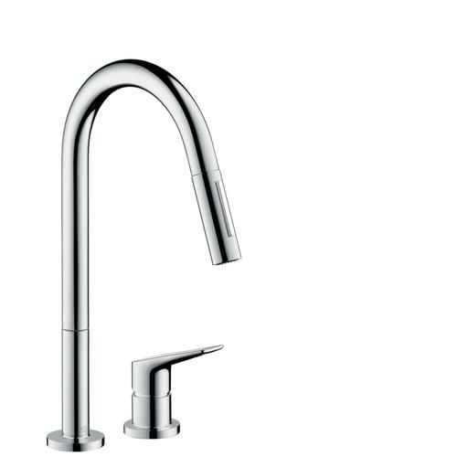 Brushed Nickel 2-hole single lever kitchen mixer 220 with pull-out spray