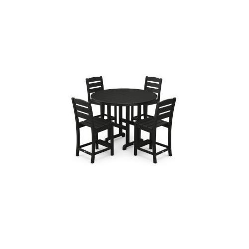 Polywood Furnishings - Lakeside 5-Piece Round Counter Side Chair Set in Black
