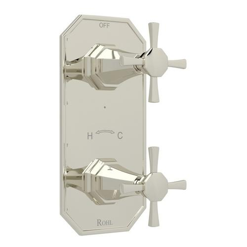 "Polished Nickel Perrin & Rowe Deco 1/2"" Thermostatic/Diverter Control Trim with Deco Cross Handle"