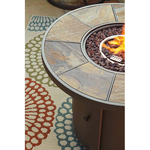 Round Fire Pit Table and 2 Swivel Chairs
