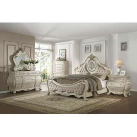 ACME Ragenardus Queen Bed - 27010Q - Beige Linen & Antique White