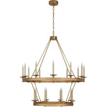 View Product - Chapman & Myers Launceton 20 Light 43 inch Antique-Burnished Brass Two Tiered Chandelier Ceiling Light, Large