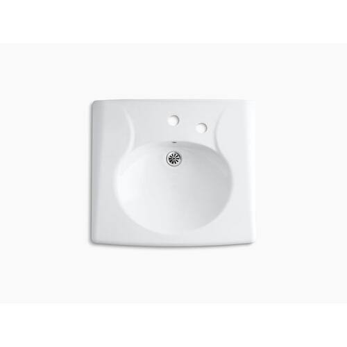 White Wall-mounted or Concealed Carrier Arm Mounted Commercial Bathroom Sink With Single Faucet Hole and Right-hand Soap Dispenser Hole