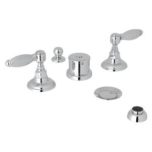 Polished Chrome Italian Bath Five Hole Bidet Faucet with Hex Series Only Metal Lever Product Image