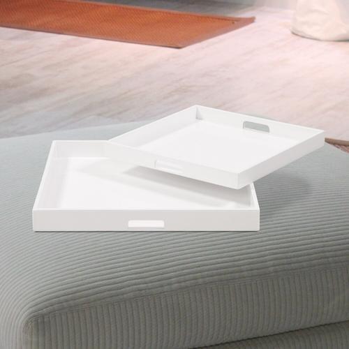 Howard Elliott - White Lacquer Square Wood Tray Set