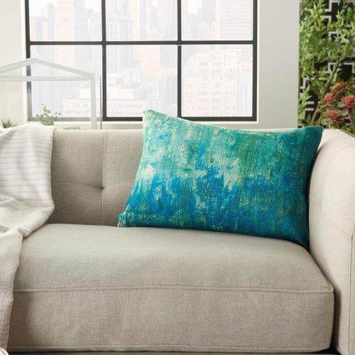 "Outdoor Pillows As130 Blue/green 14"" X 20"" Throw Pillow"