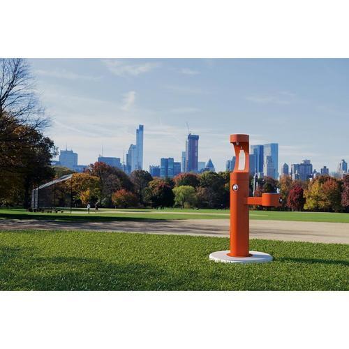 Elkay - Elkay Outdoor EZH2O Bottle Filling Station Bi-Level Pedestal, Non-Filtered Non-Refrigerated Orange