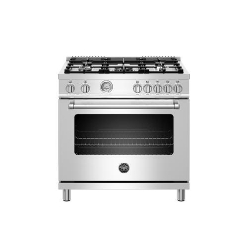 Bertazzoni - 36 inch Dual Fuel Range, 5 Burner, Electric Oven Stainless Steel