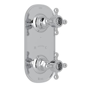 "Polished Chrome Italian Bath 1/2"" Thermostatic/Diverter Control Trim with Crystal Cross Handle Product Image"