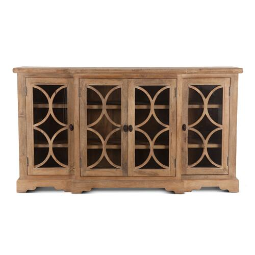 "Home Trends and Design - San Rafael 75"" Glass Cabinet Antique Oak"