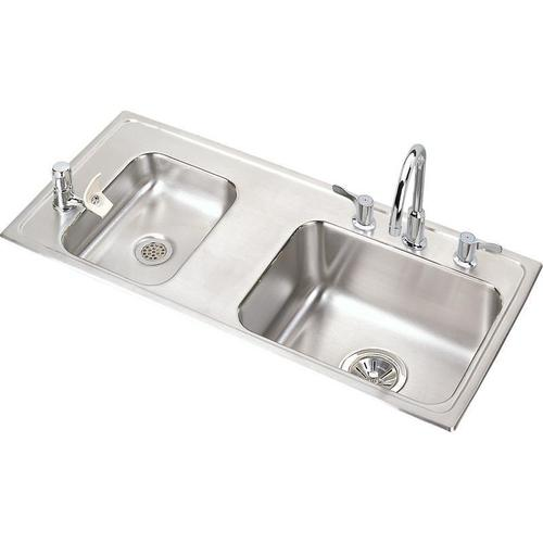 "Elkay Lustertone Classic Stainless Steel 37-1/4"" x 17"" x 6-1/2"", Double Bowl Drop-in Classroom ADA Sink Kit"