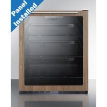"""See Details - 24"""" Wide Built-in ADA Compliant Commercial Beverage Center for Display and Refrigeration of Beverages and Food, With Glass Door With Pre-installed Wood Panel Trim In A Walnut Finish, Digital Controls, Front Lock, LED Lighting, and Black Cabinet"""
