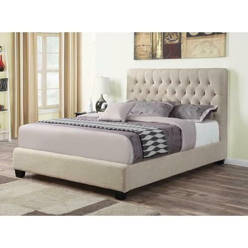 Chloe Transitional Oatmeal Upholstered Eastern King Bed