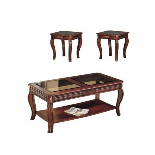 ACME Overture 3Pc Pack Coffee/End Table Set - 06152 - Cherry & Smoky Glass