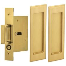 View Product - Passage Pocket Door Lock with Traditional Rectangular Trim featuring Mortise Edge Pull in (US4 Satin Brass, Lacquered)