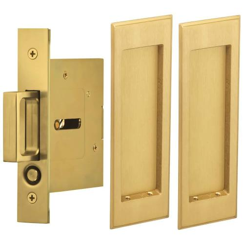 Omnia Industries - Passage Pocket Door Lock with Traditional Rectangular Trim featuring Mortise Edge Pull in (US4 Satin Brass, Lacquered)