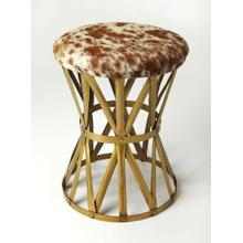 Perfect paired with your favorite sofa, used for eaxtra seating or pulled up to your morning dining table, this factory-chic round stool, brings handsome rustic appeal to any aesthetic. Striking an open silhouette, this charming design is crafted from gold finished iron in an openwork hourglass-shaped metal base with rivet details and a hair on hide leahter seat.