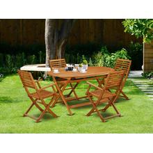 This 5 Piece Acacia Wooden Balcony Sets includes a single Outdoor-Furniture table and 4 foldable Outdoor-Furniture chairs