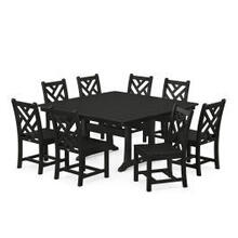 View Product - Chippendale 9-Piece Farmhouse Trestle Dining Set in Black
