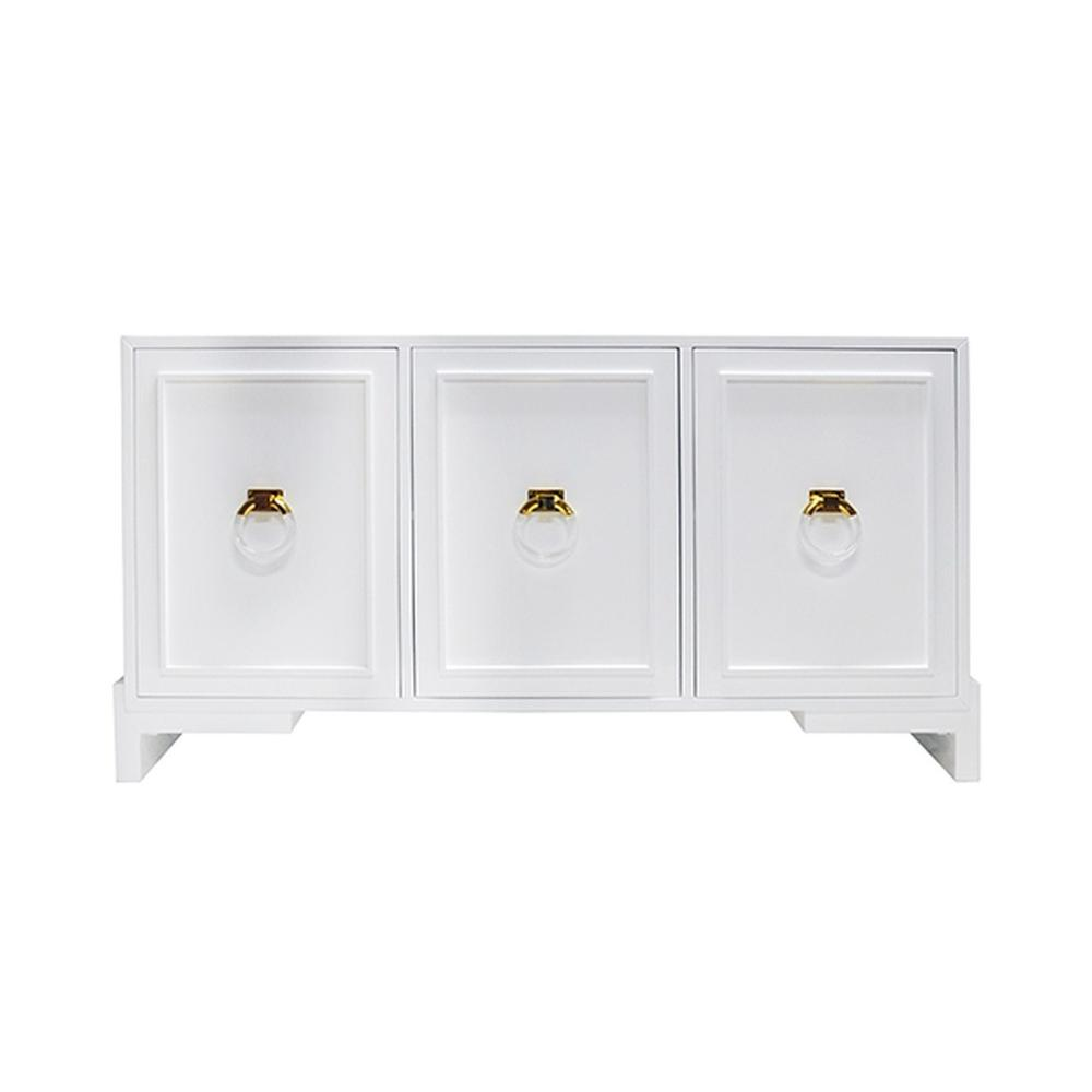 Capture the Glamour of Hollywood Regency Style With Our Lyra Cabinet. Finished In Our Signature Glossy White Lacquer and Punctuated With Imposing Brass and Lucite Ring Pulls. Lyra Offers Gracious Storage With Removable/adjustable Shelves In Each of Its Three Cabinets.